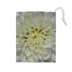 White Flowers Drawstring Pouches (Large)