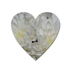 White Flowers 2 Heart Magnet