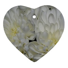 White Flowers 2 Heart Ornament (2 Sides)