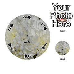 White Flowers 2 Playing Cards 54 (Round)