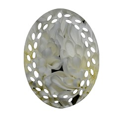 White Flowers 2 Oval Filigree Ornament (2 Side)