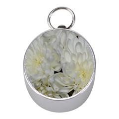 White Flowers 2 Mini Silver Compasses