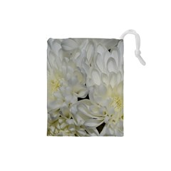 White Flowers 2 Drawstring Pouches (Small)