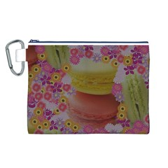 Macaroons and Floral Delights Canvas Cosmetic Bag (L)