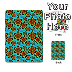 Neon Retro Flowers Aqua Multi Purpose Cards (rectangle)