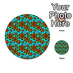Neon Retro Flowers Aqua Multi-purpose Cards (Round)