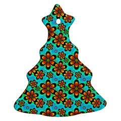Neon Retro Flowers Aqua Christmas Tree Ornament (2 Sides)