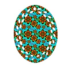 Neon Retro Flowers Aqua Oval Filigree Ornament (2-Side)