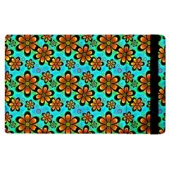 Neon Retro Flowers Aqua Apple iPad 3/4 Flip Case