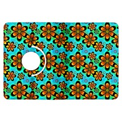 Neon Retro Flowers Aqua Kindle Fire HDX Flip 360 Case