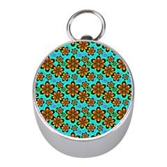 Neon Retro Flowers Aqua Mini Silver Compasses