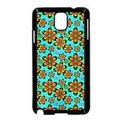 Neon Retro Flowers Aqua Samsung Galaxy Note 3 Neo Hardshell Case (black)