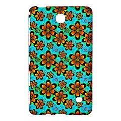 Neon Retro Flowers Aqua Samsung Galaxy Tab 4 (7 ) Hardshell Case