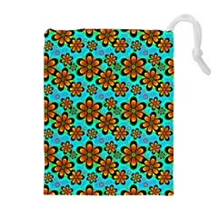 Neon Retro Flowers Aqua Drawstring Pouch (XL)