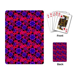 Neon Retro Flowers Pink Playing Card