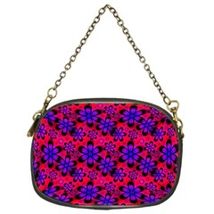 Neon Retro Flowers Pink Chain Purses (One Side)
