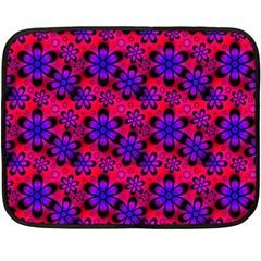 Neon Retro Flowers Pink Double Sided Fleece Blanket (Mini)