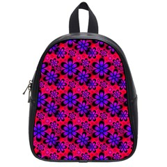 Neon Retro Flowers Pink School Bags (Small)