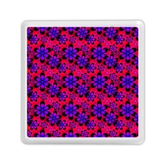 Neon Retro Flowers Pink Memory Card Reader (square)