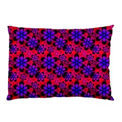 Neon Retro Flowers Pink Pillow Cases (two Sides)