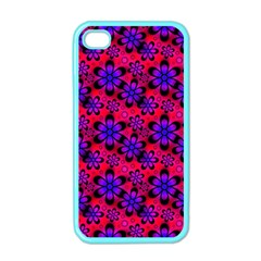 Neon Retro Flowers Pink Apple iPhone 4 Case (Color)