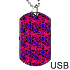 Neon Retro Flowers Pink Dog Tag Usb Flash (one Side)