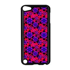 Neon Retro Flowers Pink Apple iPod Touch 5 Case (Black)