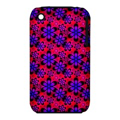 Neon Retro Flowers Pink Apple iPhone 3G/3GS Hardshell Case (PC+Silicone)