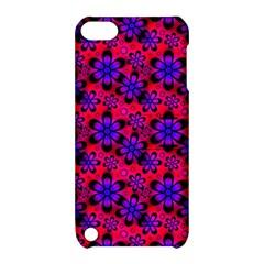 Neon Retro Flowers Pink Apple iPod Touch 5 Hardshell Case with Stand