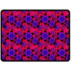 Neon Retro Flowers Pink Double Sided Fleece Blanket (large)