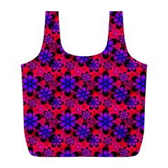 Neon Retro Flowers Pink Full Print Recycle Bags (L)
