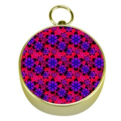Neon Retro Flowers Pink Gold Compasses