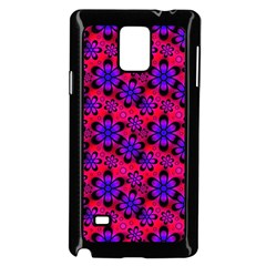 Neon Retro Flowers Pink Samsung Galaxy Note 4 Case (Black)