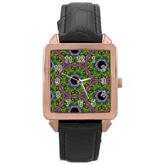 Repeated Geometric Circle Kaleidoscope Rose Gold Watches