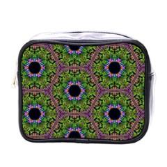 Repeated Geometric Circle Kaleidoscope Mini Toiletries Bags