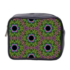Repeated Geometric Circle Kaleidoscope Mini Toiletries Bag 2-Side