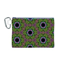 Repeated Geometric Circle Kaleidoscope Canvas Cosmetic Bag (M)