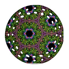 Repeated Geometric Circle Kaleidoscope Round Filigree Ornament (2side)