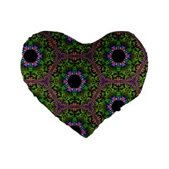 Repeated Geometric Circle Kaleidoscope Standard 16  Premium Flano Heart Shape Cushions
