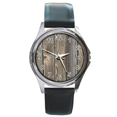 Wood Fence Round Metal Watches