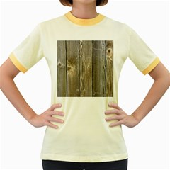 Wood Fence Women s Fitted Ringer T Shirts