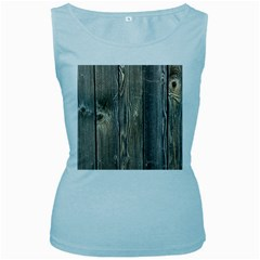 Wood Fence Women s Baby Blue Tank Tops