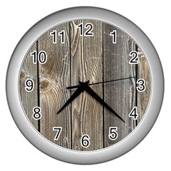Wood Fence Wall Clocks (silver)