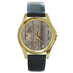 Wood Fence Round Gold Metal Watches