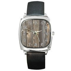 Wood Fence Square Metal Watches