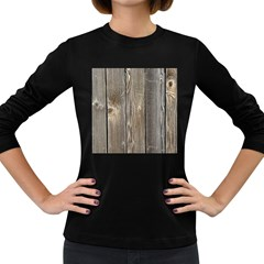 Wood Fence Women s Long Sleeve Dark T Shirts