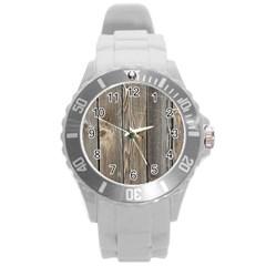 Wood Fence Round Plastic Sport Watch (l)