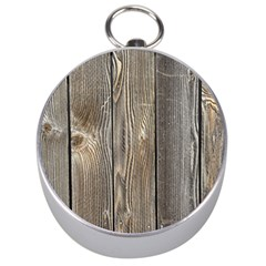 Wood Fence Silver Compasses