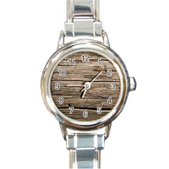 Weathered Wood Round Italian Charm Watches