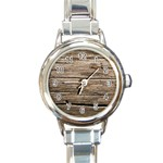 WEATHERED WOOD Round Italian Charm Watches Front